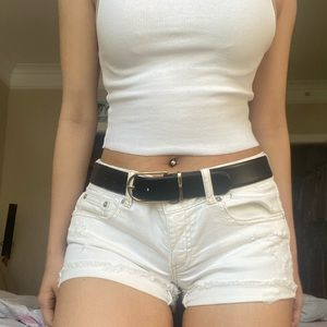 AE Mid rise White Distressed Shorts